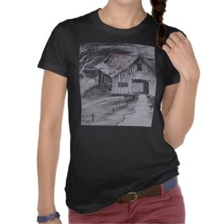 THE BARN folk art country painting drawing Tees
