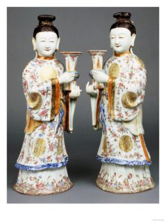 A Pair of Famille Rose Candle Holders Modelled as Standing Ladies, Qianlong Giclee Print