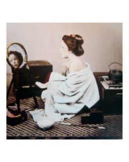 Young Japanese Woman Applying Powder Photographic Print by Felice Beato