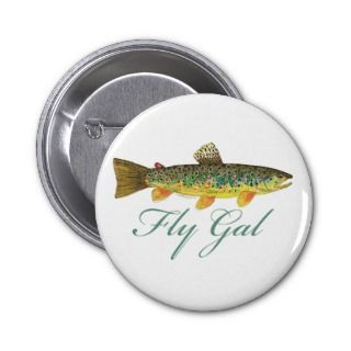 Fly Fishing Woman Pinback Button