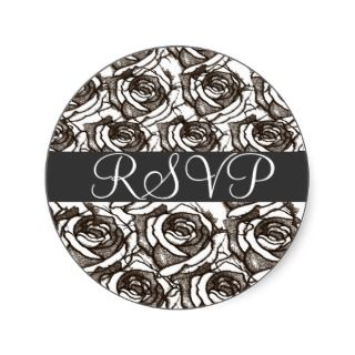 Black and White Roses RSVP Sticker