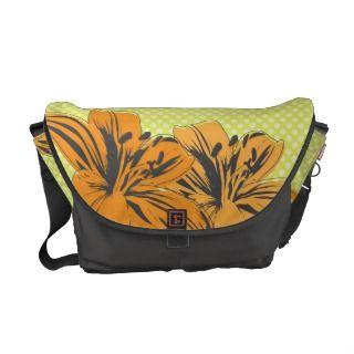 Retro Modern Flowers Rickshaw Messenger Bag