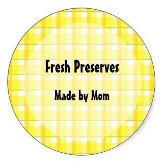 Yellow Checks Custom Canning Jar Labels Round Sticker
