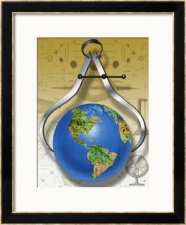 Calipers Measuring the Earth Framed Giclee Print