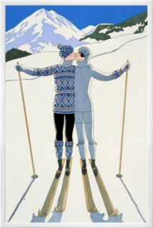 Winter Lovers in the Snow, Fashion Plate from Twentieth Century France, 1925 Framed Canvas Print by Georges Barbier