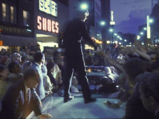 Presidential Candidate Robert Kennedy Standing on Back of Convertible Car While Campaigning Photographic Print by Bill Eppridge