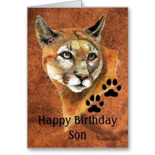 Happy Birthday Son Cougar, Puma, Mountain Lion Ani Greeting Cards