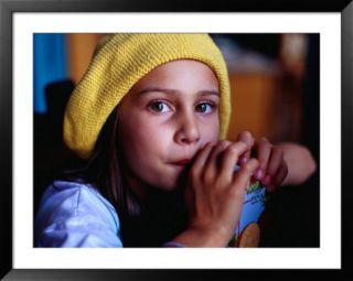 Young Girl Drinking Juice in Cafe, Melbourne, Australia Pre made Frame