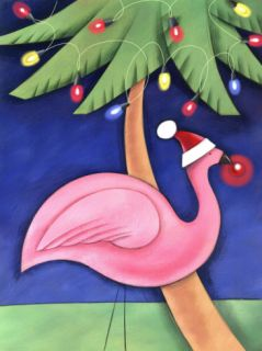 Flamingo Lawn Ornament and Christmas Lights in Palm Trees Premium Poster