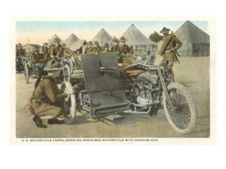Armored Motorcycle with Machine Gun Giclee Print