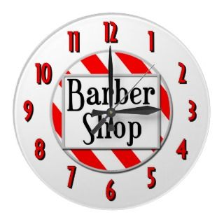 Barber Shop Red White Retro Wall Clock