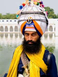 Sika Hindu Religious Man in Bangla Shib Gurudwara, Sika Great Temple, New Delhi, India Photographic Print by Bill Bachmann