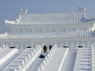 Snow and Ice Sculpture Festival on Sun Island Park, Harbin, Northeast China, China Photographic Print by Kober Christian
