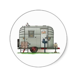 Avion Camper Trailer Round Sticker