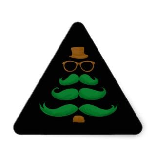 Christmas Mustache Tree Triangle Sticker
