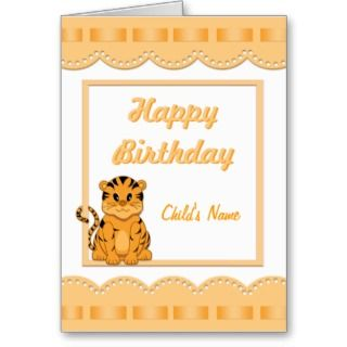 Birthday Card Template with Cartoon Tiger Cub