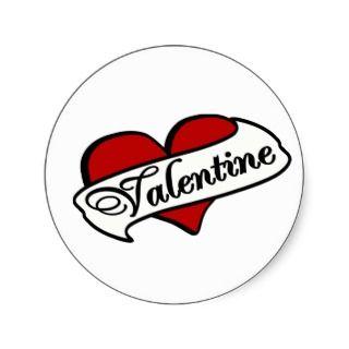 Valentine Tattoo With Heart & Banner Round Stickers