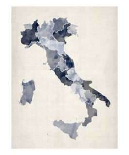 Watercolor Map of Italy Premium Giclee Print by Michael Tompsett