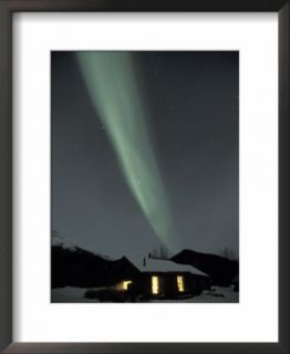 Northern Lights Curtain of Green Over a Miners Cabin, Brooks Range, Alaska, USA Pre made Frame