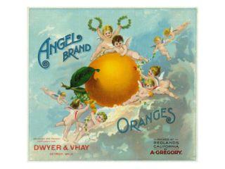 Redlands, California, Angel Brand Citrus Label Print