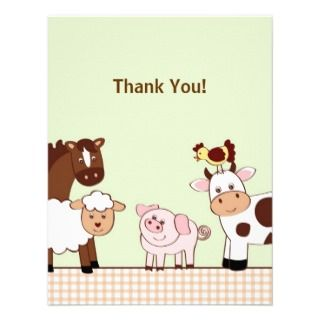 Farm Babies Farm Animals Thank You Note Cards Personalized Invitation