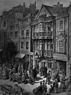 Dore Etching Depicting Bustling London Street Scene Premium Photographic Print