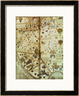 Detail from a Catalan World Map, 1375 Framed Giclee Print