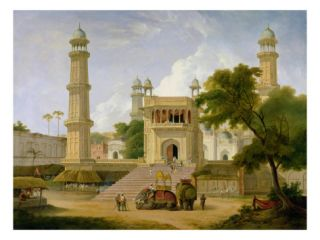 Indian Temple, Said to Be the Mosque of Abo Ul Nabi, Muttra, 1827 (Oil on Canvas) Giclee Print by Thomas Daniell