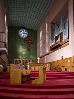 Cathedral Interior with Stained Glass and Cross, North Island, New Zealand Photographic Print by Don Smith
