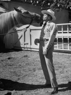 Singing Cowboy Gene Autry and His Horse Premium Photographic Print by Michael Rougier