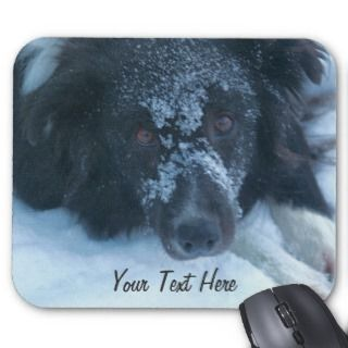 Snowy Faced Border Collie Cute Dog Mousepad