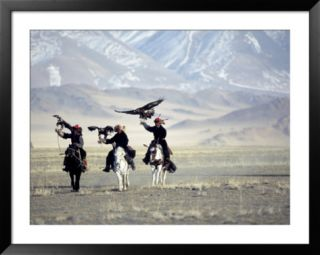 Eagle Hunters Dalai Khan, Takhuu Grandfather, Son Kook Kook, Golden Eagle Festival, Mongolia Pre made Frame