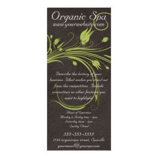 Organic Spa Green Floral Brown Suede Rack Card