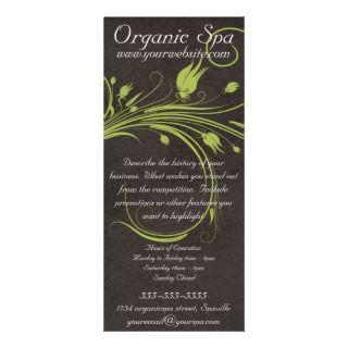 Organic Spa Green Floral Brown Suede Rack Card