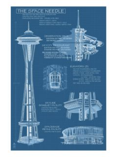Seattle, WA, Space Needle Technical Drawing Print