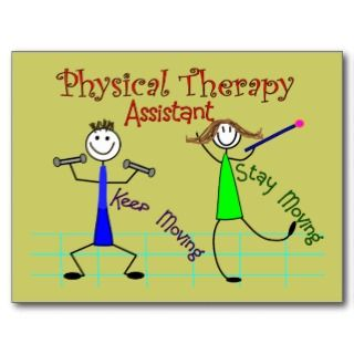 Physical Therapy Assistant Stick People Design Post Card