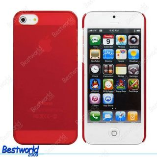 Red Ultra Thin Crystal Clear Hard Cover Case for Apple iPhone 5 5G