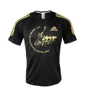Adidas Elite Tech IAAF BERLIN Running T Shirt 50 M schwarz gold