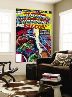 Captain America And The Falcon #202 Cover Captain America and Falcon Fighting and Flying Wall Mural by Jack Kirby