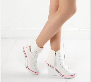 Women-Wedge-High-Heel-High-Top-Sneakers-Tennis-Shoes-Boots-White-US-5