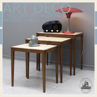 ART DECO À MID CENTURY MODERN NESTING TABLE SATZ TISCH EAMES PANTON
