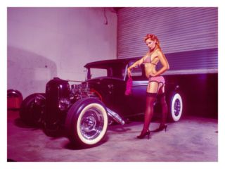 Pin Up Girl Flat Head Rat Rod Giclee Print by David Perry