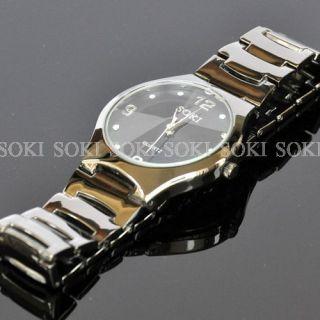 New SOKI Black Mens Analog Quartz Diamond Dial Wrist Stainless Band
