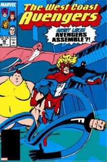 Avengers West Coast #46 Cover: Mr. Immortal, Big Bertha, Flatman and Great Lakes Avengers Stretched Canvas Print by Byrne John