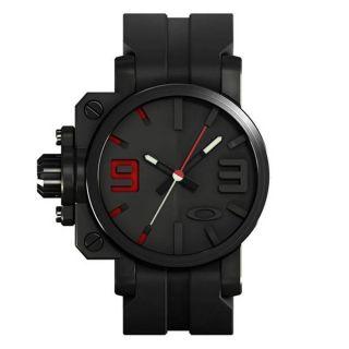 Oakley GEARBOX 10 062 Armbanduhr Uhr (Stealth/Black Red Dial/Black