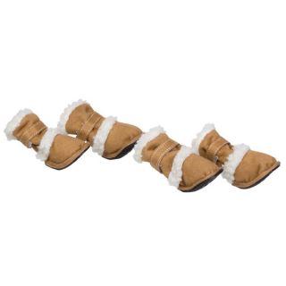 """Pet Life Shearling """"DUGGZ"""" Dog Shoes   Set of 4   Brown"""