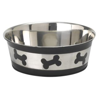PetRageous Designs Tobago Bones Pet Bowl   Stainless Steel   Bowls & Feeding Accessories
