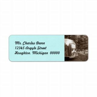 Vintage Travel Trailer photo Return Address Label