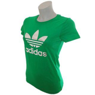 Adidas Originals Damen Trefoil T Shirt grün Tee 100% Baumwolle