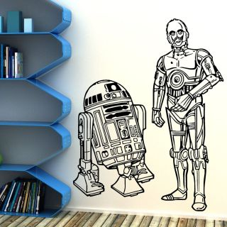 STAR WARS R2D2 AND C3PO DROIDS DUO VINYL WALL ART ROOM STICKER DECAL